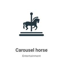 Carousel Horse Vector Icon On White Background. Flat Vector Carousel Horse Icon Symbol Sign From Modern Entertainment Collection For Mobile Concept And Web Apps Design.