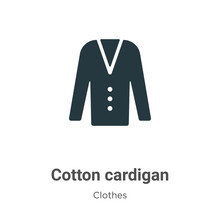 Cotton Cardigan Vector Icon On White Background. Flat Vector Cotton Cardigan Icon Symbol Sign From Modern Clothes Collection For Mobile Concept And Web Apps Design.