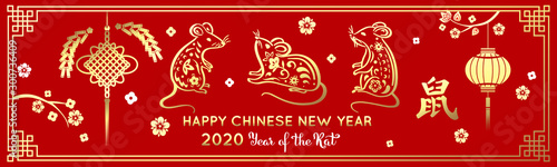 Obraz Golden rat symbol of the new year 2020 on the eastern calendar on a red background. Holiday card with decorative elements paper lantern, mouse, cherry petals. Hieroglyph translation: Rat - fototapety do salonu