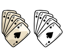 Cartoon Plastic Playing Cards Deck. Poker Flash Royal. Isolated On White Background. Vector Icon For Coloring.