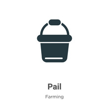 Pail Vector Icon On White Back...