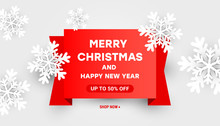 Merry Christmas And Happy New Year Composition Sale Vector Discount Template With Paper Cut White Snowflakes On A Red Ribbon Text