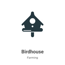 Birdhouse Vector Icon On White...