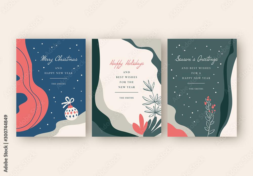 Fototapety, obrazy: Holiday Card Layout Set with Minimalist Illustrations