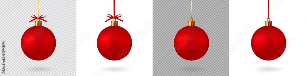Fototapety, obrazy: Realistic Red Christmas ball with ribbon and bow, isolated background - stock vector.
