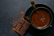 Homemade Hot Chocolate With Winter Spices. Top View With Copy Space.