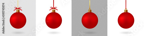 Obraz Realistic Red Christmas ball with ribbon and bow, isolated background - stock vector. - fototapety do salonu