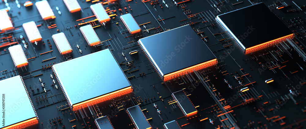 Fototapeta Printed circuit board futuristic server/Circuit board futuristic server code processing. Orange,  green, blue technology background with bokeh. 3d rendering