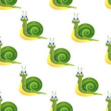 Pattern Vector Illustration. Funny Smiling Cartoony Snail