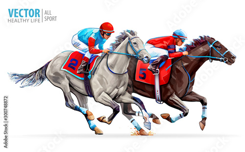 Two racing horses competing with each other Fototapeta