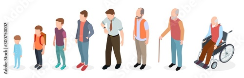 Man generations. Isometric adult, vector male characters, kids, boy, old man, human age evolution. Illustration growing generation, baby to pensioner