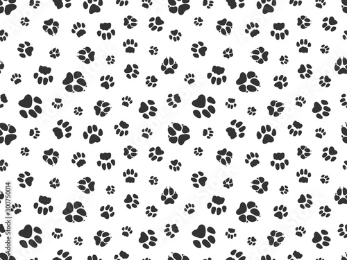obraz PCV Pet paw pattern. Animal background with god cat paws. Pet steps seamless texture. Seamless footstep pattern, pet paw, animal dog and cat illustration