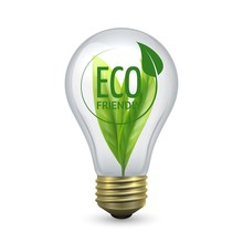 Eco Friendly Light Bulb. Glass Bulb With Green Leaf Inside. Vector Lamp Isolated On White Background, Energy Saving Concept. Illustration Eco Bulb Light, Electricity Lamp Eco-friendly And Renewable