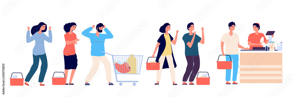Fototapety, obrazy: Angry people queue. Dissatisfied and tired customers standing in supermarket line, scream and swear by purchasing. Vector concept. Illustration people queue angry, customer hysteria