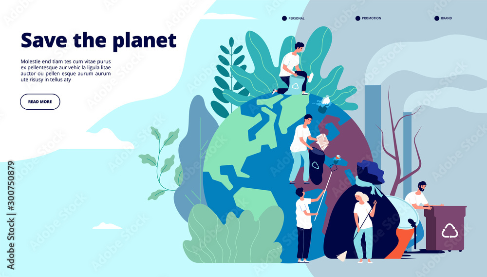 Fototapety, obrazy: Ecology landing page. Characters cleaning trash earth surface, environmental protection recycling and ecology, website vector design. Illustration recycle environmental, planet world ecology