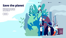 Ecology Landing Page. Characters Cleaning Trash Earth Surface, Environmental Protection Recycling And Ecology, Website Vector Design. Illustration Recycle Environmental, Planet World Ecology