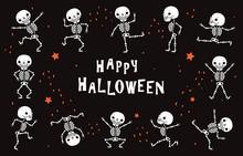 Dancing Skeletons. Funny White Human Bones In Dance. Halloween Vector Black Poster In Horror Style. Illustration Halloween Skeleton, Horror Party With Skull