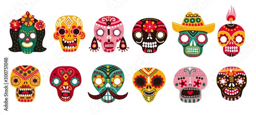 Dead day skulls. Mexican sugar human head bones halloween tattoo dia de los muertos vector set. Illustration death head, halloween human head, mexico pattern colorful