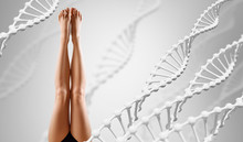 Perfect Female Legs Among DNA Stems Over Gray Background.