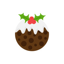 Christmas Pudding Vector Round Illustration Icon. Seasonal, Festive, Traditional Holiday Dessert With Cream On Top And Holly, Mistletoe Decoration. Isolated Cartoon Graphic.