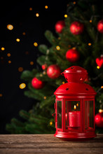 Christmas Background With Red Lantern