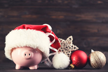 Red Santa Hat With Piggybank A...