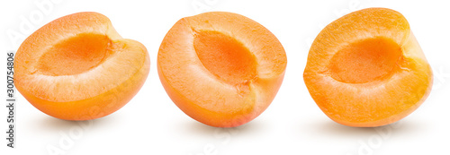 collection of apricot halves isolated on a white background Canvas