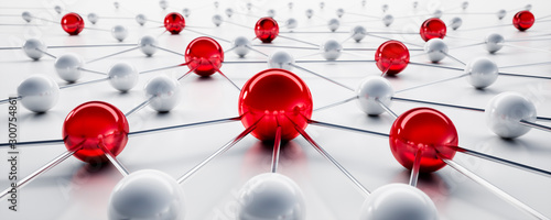 Fotomural  Red and white sphere network structure - abstract design connection design - 3D