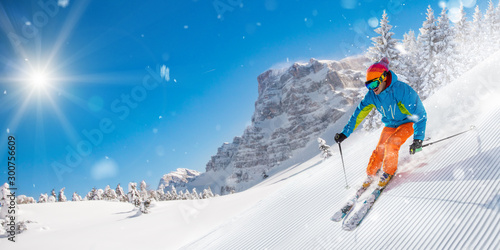 Canvas Prints Winter sports Skier skiing downhill during sunny day in high mountains