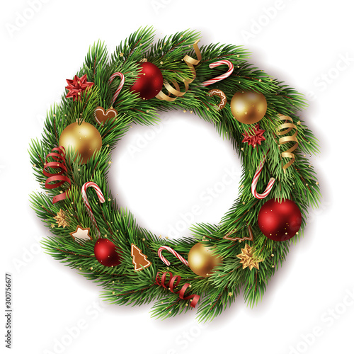 Fotografiet  realistic decorated advent wreath with many detailed christmas elements