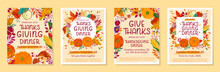 Bundle Of Thanksgiving Dinner Templates With Pumpkins,mushrooms,corn,apples,figs,wheat,plants,leaves,berries And Floral Elements.Holiday Invitations Design.Trendy Autumn Vector Illustrations.