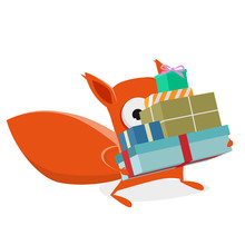 Funny Cartoon Squirrel With Christmas Gifts