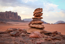 Rock Cairn In The Desert Of Wadi Rum Jordan