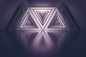 Composition with many repeating triangles over mirror reflective floor colored with dark magenta colors. 3d illustration.