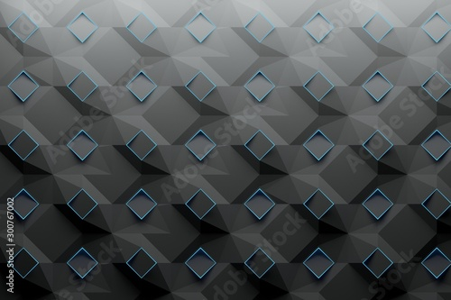 Pattern structured with blue rhombuses squares colored in dark carbon black gray color Tablou Canvas