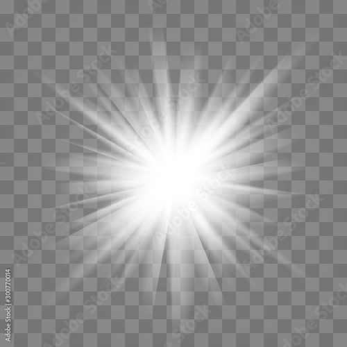 White glowing light burst explosion with transparent. Cool effect decoration with ray sparkles. Transparent shine gradient glitter Wall mural