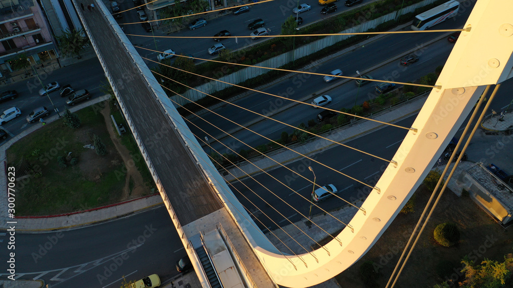 Fototapety, obrazy: Aerial drone photo of busy with heavy traffic area of Katehaki and Mesogeion with underground station and landmark pedestrian bridge, Athens, Attica, Greece