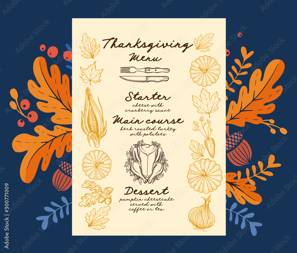 Fototapeta Thanksgiving food menu for holiday dinner celebration.