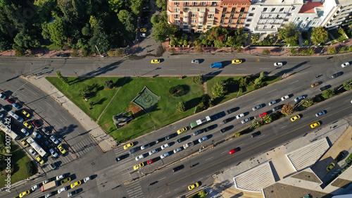Fototapeta  Aerial drone photo of downtown centre of Athens residential urban area, Attica,