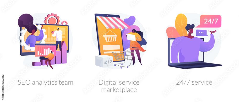 Fototapeta Business teamwork, internet commerce, customer support icons set. Seo analytics team, digital service marketplace, 24-7 service metaphors. Vector isolated concept metaphor illustrations