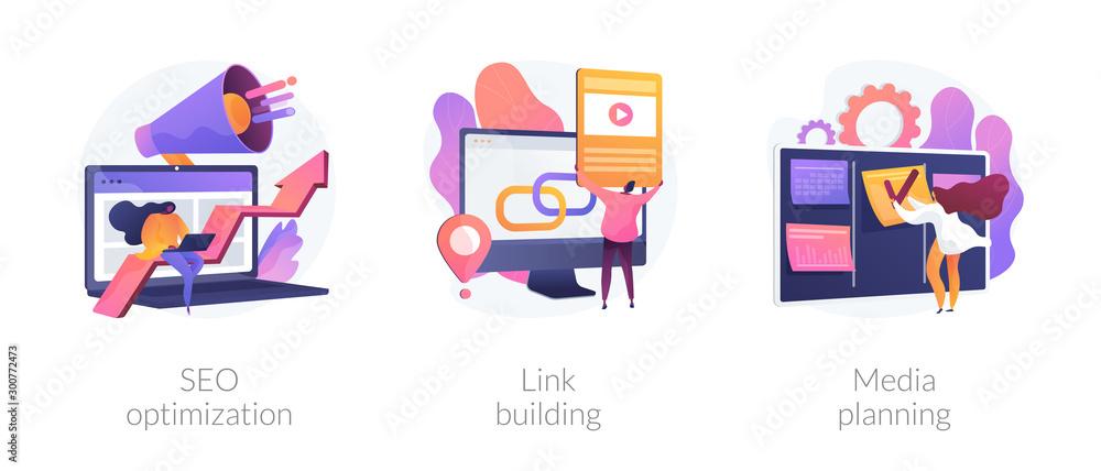 Fototapeta Internet business development, networking strategy, task management icons set. Seo optimization, link building, media planning metaphors. Vector isolated concept metaphor illustrations