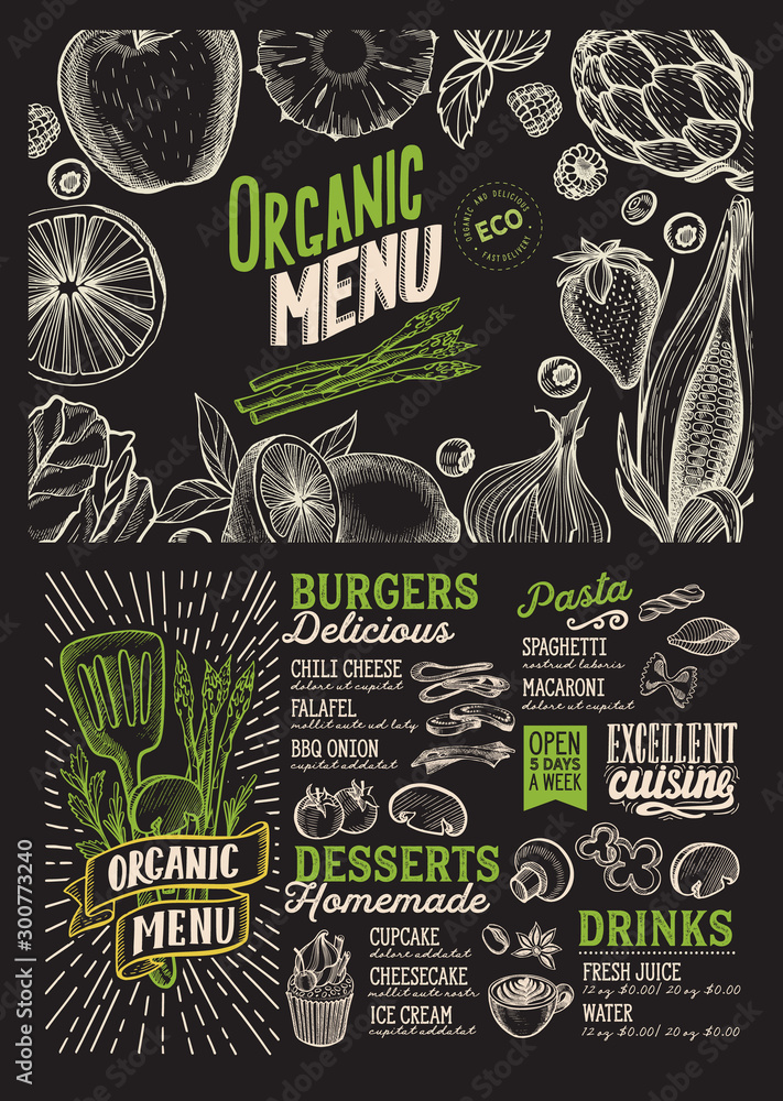 Fototapety, obrazy: Vegan menu food template for restaurant with doodle hand-drawn graphic.