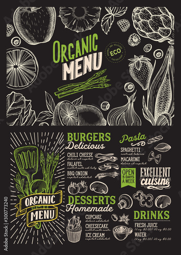 Vegan menu food template for restaurant with doodle hand-drawn graphic.