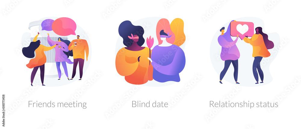 Fototapeta Friendship and communication, flirt and partner search, romantic bonding icons set. Friends meeting, blind date, relationship status metaphors. Vector isolated concept metaphor illustrations