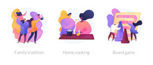 Relatives Bonding, Homemade Food Preparation, Entertainment Activity Icons Set. Family Tradition, Home Cooking, Board Game Metaphors. Vector Isolated Concept Metaphor Illustrations
