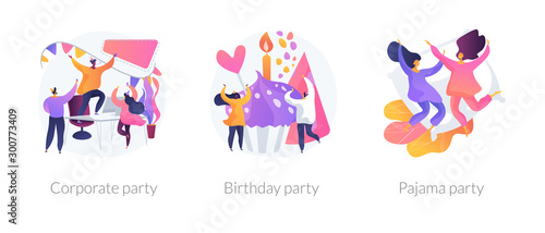 Obraz Office celebration, anniversary congratulations, girlfriends sleepover icons set. Corporate party, birthday party, pajama party metaphors. Vector isolated concept metaphor illustrations - fototapety do salonu