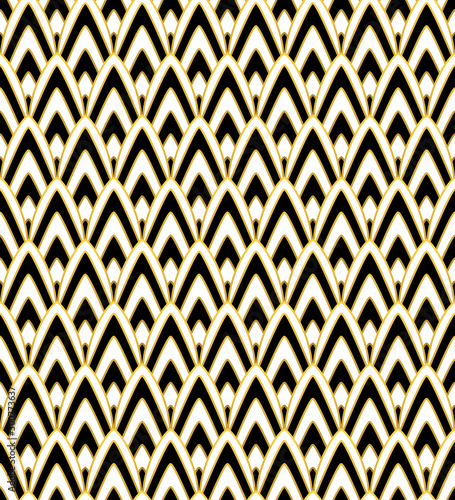 Fotografía  Luxurious Art Deco Style seamless vector pattern with black, white and gold details