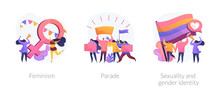 Women Empowerment Movement, Gay Pride Demonstration, Asserting Rights Icons Set. Feminism, Parade, Sexuality And Gender Identity Metaphors. Vector Isolated Concept Metaphor Illustrations