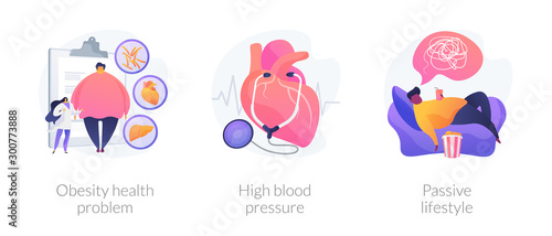 Obraz Overweight issue, heart disease treatment, unhealthy pastime icons set. Obesity health problem, high blood pressure, passive lifestyle metaphors. Vector isolated concept metaphor illustrations - fototapety do salonu