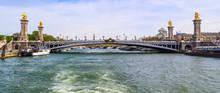 Historic Bridge (Pont Alexandre III) Over The River Seine In Paris France